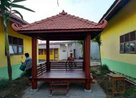 Gazebo minimalis kayu kelapa ukuran 2.5mx2.5m