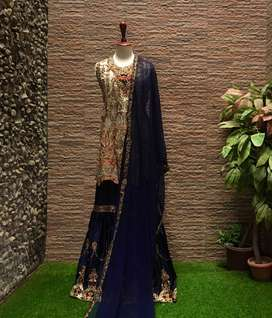3PC HANDMADE EID/ PARTY/BRIDAL WEAR WITH SHARARA (one size)