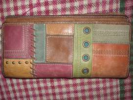 FOSSIL PATCHWORK MULTI COLOR TRI-FOLD PURE LEATHER WALLET CLUTCH