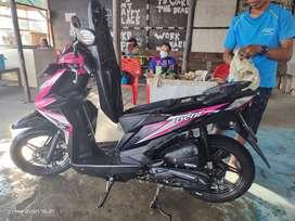 Dijual Honda beat THN produksi 2018 warna Magenta hitam 1 THN pakai