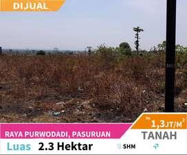 Dijual Tanah 2,3 Hektar cocok untuk Industri di Purwodadi
