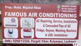 Ac service, Ac repair and Ac installation. Concealed piping of Ac.