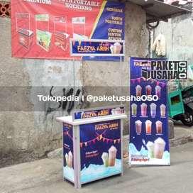 booth portable gerobak, etalase lemari rak jualan meja container murah