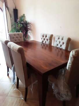 New Modern dining table with six chairs full cushion