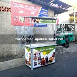 booth portable, gerobak lipat, container, jajanan saha takoyaki sosis