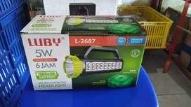 PROMO-LAMPU SENTER EMERGENCY LUBY-2687 CAHAYA PUTIH 5WATT 1500MAH-OKE