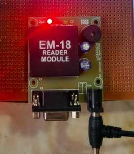 Arduino nano, Em-18 RFID, 16x2 LCD, PCB board, Jumper wires