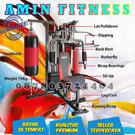 Alat Fitness Home Gym 3 Sisi + Samsak Anti Gores Multi fungsi Gym