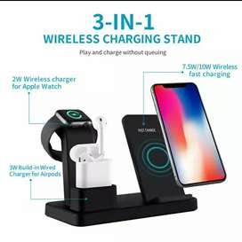 3 in 1 Qi wireless charger for iPhone airpods and iwatch