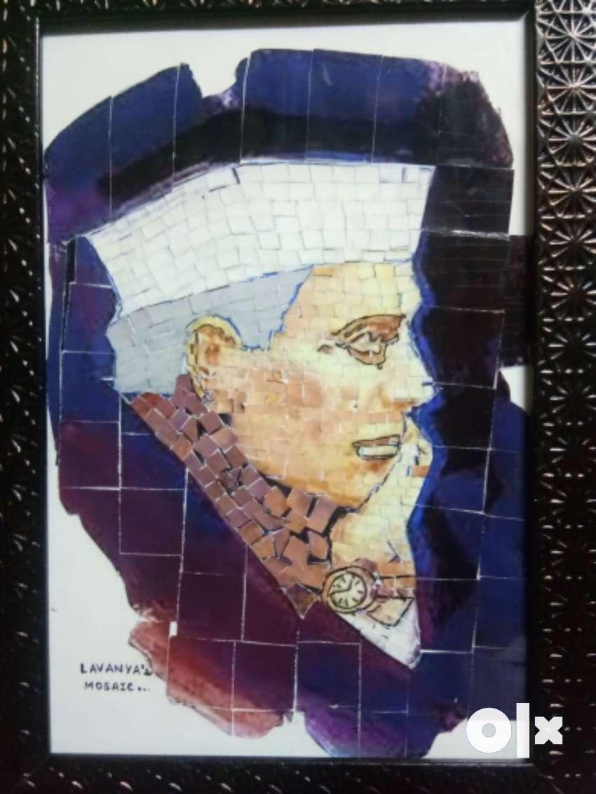 #Lavanya's mosaic # Nehru's handmade mosaic painting 0