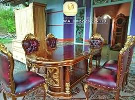 Kursi x meja makan ukir klasik Jati.