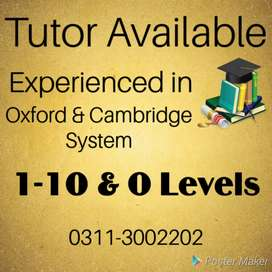 Experienced Home Tutor For 1-10 Classes