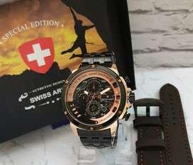 jam tangan swiss army stock baru 3 chrono on fullset+strap+box