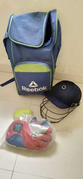 Cricket kit bag with helmet gloves