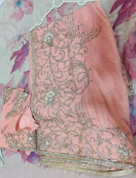 Peach colour Bridal/ Wedding silk saree.