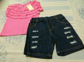 Candy Baby Layered Pink Top Set Jeans