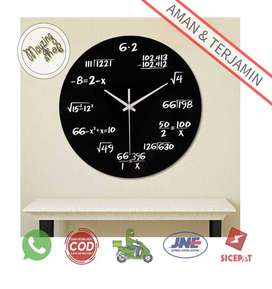 3DLM Jam Dinding Bulat Quartz Design Math Equation