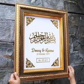 Mahar pernikahan kaligrafi Akrilik gold miror asli