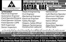 STAFF WANTED FOR CONSOLIDATED CONTRACTORS COMPANY QATAR.