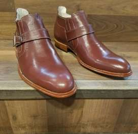 The_zeco_shoes buckle ankle maroon in colour handmade leather shoes