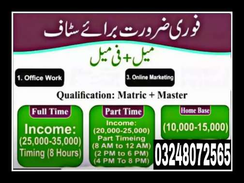 Online Job at Home base and office base in Lahore