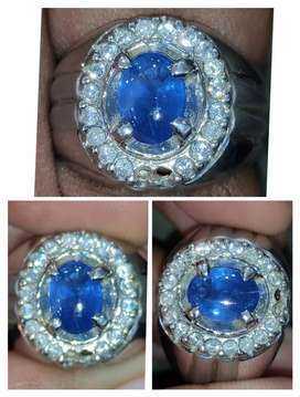 Natural Blue Sapphire Srilangka Ring Perak Chrome Dope Boss
