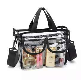 LARGE CAPACITY DAILY USE COSMETIC ORHANISER BAG TRANSPARENT SHOULDER