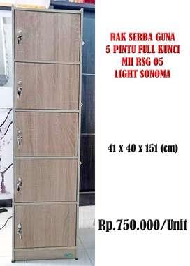 Rak Serba Guna 5 Pintu Full Kunci MH RSG 05 Light Sonoma