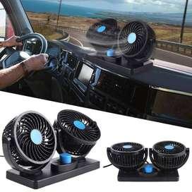 Kipas Angin Mobil 12V dan 24V Double Headed Fan Mini Fan 360 Degress