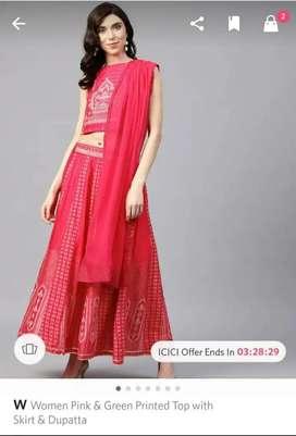W brand skirt with decent crop top lehnga