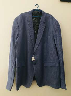 Linen Blue Wedding coat and pant for sale