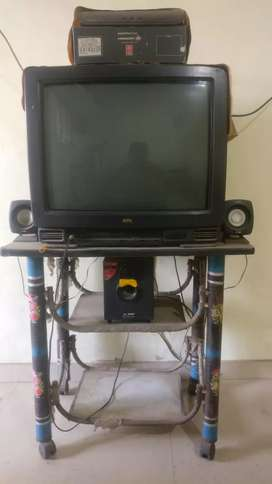 BPL tv with stand & good condition music system &Videocon d2h dishtv