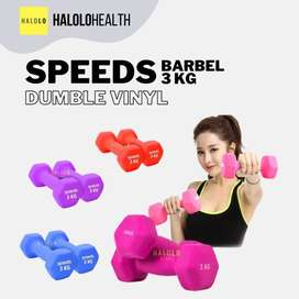 Barbel Dumble 3 kg Dumbell Vinyl SPEEDS Kualitas Import