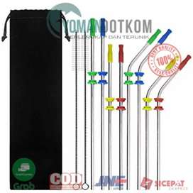 BA010 Sedotan Stainless Steel Bending Straw Capillary 8 PCS