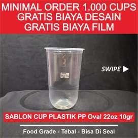 Sablon Gelas Plastik Oval 22 oz 10 gr
