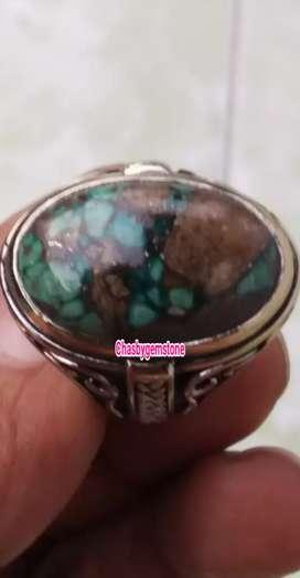 Cincin Batu Pirus Persia Ceplok kura-Pirus Persie Serat Kura