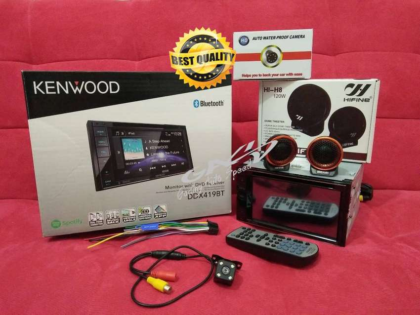Paket Hemat Kenwood DDX-419BT Plus Kamera Mundur LED +Tweeter Hifine 0