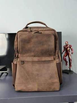 Tas kulit asli crazy horse ukuran besar muat laptop 15 inch