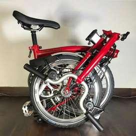 Sepeda Lipat Brompton M6LD House Red Dinamo lamp depan blkg new baru