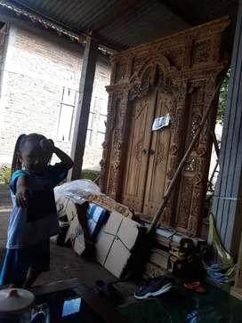 Cuci gudang pintu gebyok ukir ukuran 200 x 250 cm kayu jati asli fatan