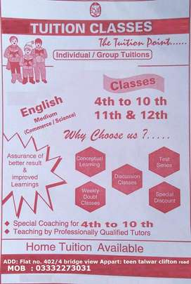 Home tuition available for grade 2 to Matric/ O levels.