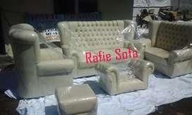 Rafie Sofa/1 Set Sofa Syahrini Cream + Meja + Bantal + Puff