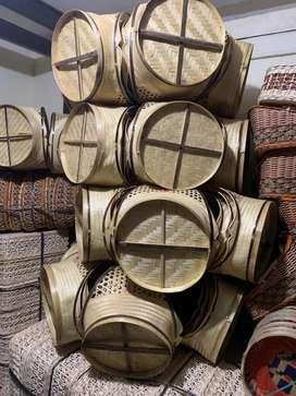 Keranjang buah bambu cincin set isi 3