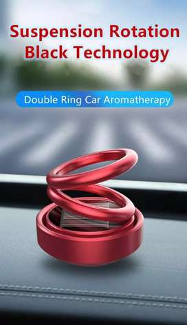 Solar Powered Automatic Rotating Car Air Freshner Double Ring design