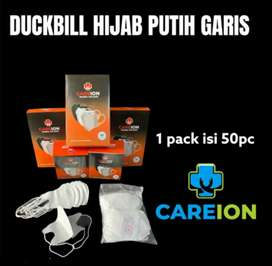 Duckbill hijab putih garis