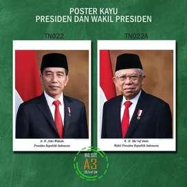 Poster Kayu Jokowi Makruf Ukuran Besar A3 Presiden RI Indonesia MDF