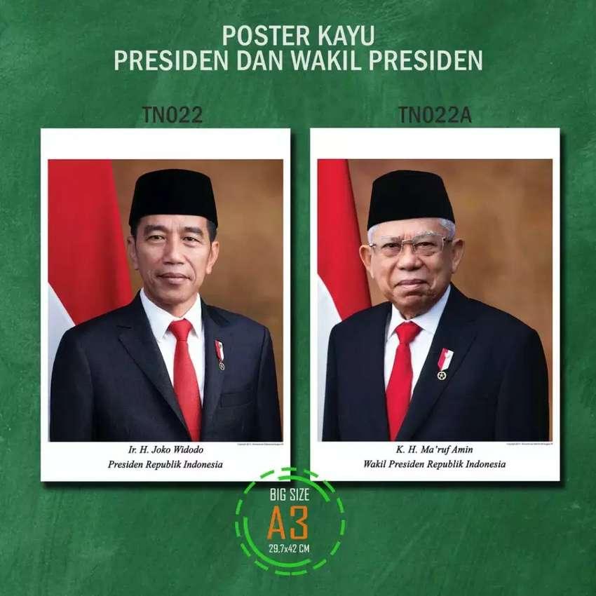 Poster Kayu Jokowi Makruf Ukuran Besar A3 Presiden RI Indonesia MDF 0