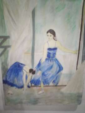 Oil painting two dancing girl.