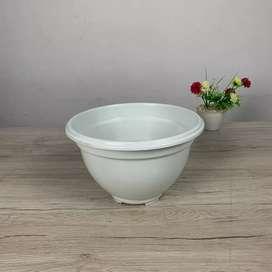 Pot Bunga Putih Polos 25 cm.