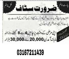 Lahore Online Work Available for Male and Female